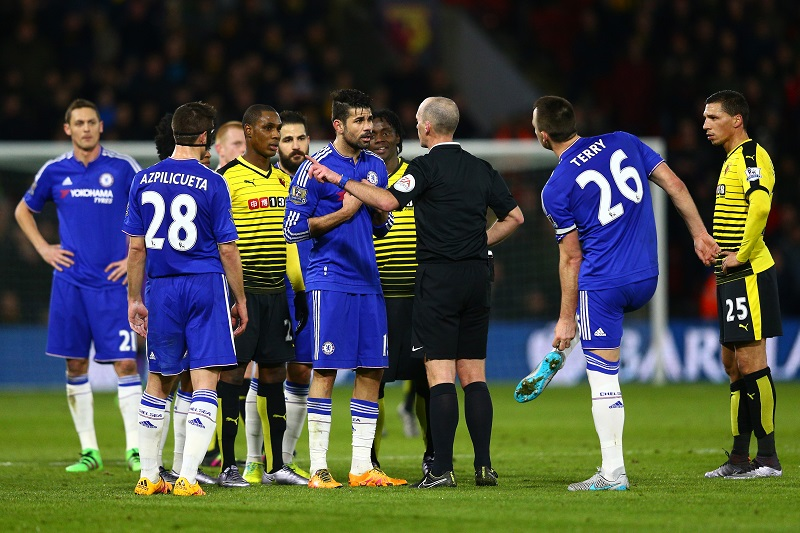 during the Barclays Premier League match between Watford and Chelsea at Vicarage Road on February 3, 2016 in Watford, England.