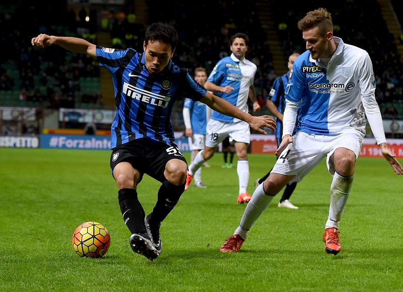 during the Serie A match between FC Internazionale Milano and AC Chievo Verona at Stadio Giuseppe Meazza on February 3, 2016 in Milan, Italy.
