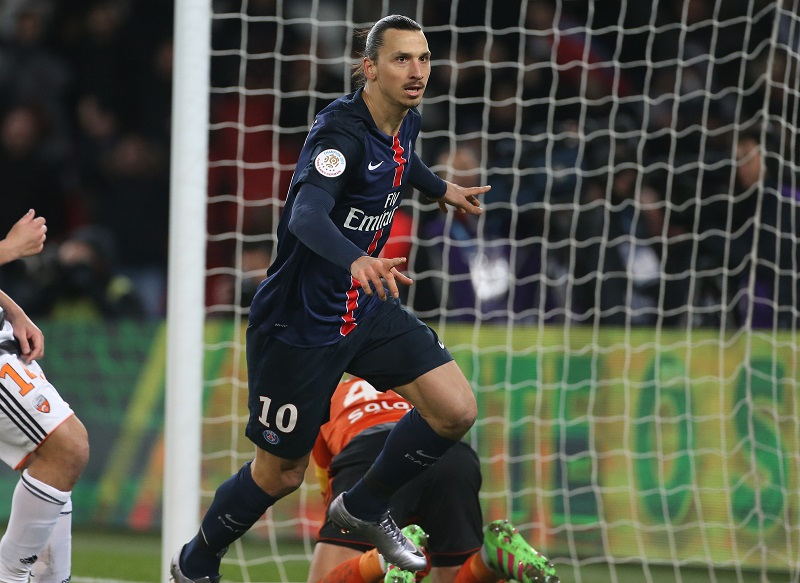 PARIS, FRANCE - FEBRUARY 3: Zlatan Ibrahimovic of PSG celebrates scoring a goal during the French Ligue 1 match between Paris Saint-Germain (PSG) and FC Lorient at Parc des Princes stadium on February 6, 2016 in Paris, France. (Photo by Jean Catuffe/Getty Images)