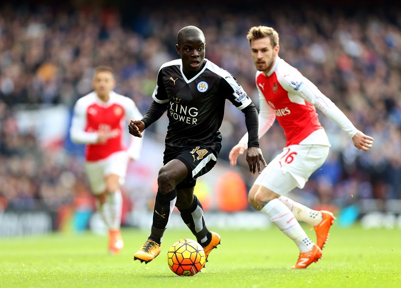 LONDON, ENGLAND - February 14: N'Golo Kante of Leicester City in action with Aaron Ramsey of Arsenal during the Premier League match between Arsenal and Leicester City at Emirates Stadium on February 14, 2016 in London, United Kingdom.  (Photo by Plumb Images/Leicester City FC via Getty Images)