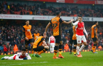 during the Emirates FA Cup fifth round match between Arsenal and Hull City at the Emirates Stadium on February 20, 2016 in London, England.