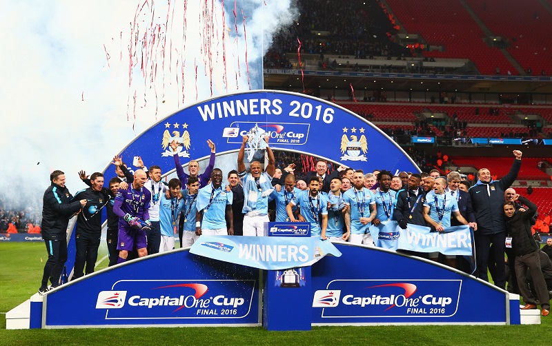 during the Capital One Cup Final match between Liverpool and Manchester City at Wembley Stadium on February 28, 2016 in London, England.