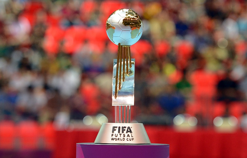 BANGKOK, THAILAND - NOVEMBER 18:  The trophy is seen during the FIFA Futsal World Cup Final at Indoor Stadium Huamark on November 18, 2012 in Bangkok, Thailand.  (Photo by Lars Baron - FIFA/FIFA via Getty Images)
