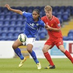 CHESTER, ENGLAND - MAY 04:  (THE SUN OUT, THE SUN ON SUNDAY OUT) Daniel Cleary of Liverpool and Harry Panayiotou of Leicester City in action during the Barclays U21 Premier League game between Liverpool and Leicester City FC at The Swansway Chester Stadium on May 4, 2015 in Chester, England.  (Photo by Nick Taylor/Liverpool FC via Getty Images)