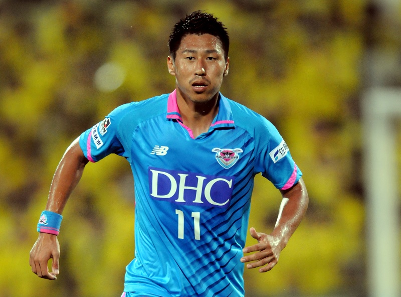 KASHIWA, JAPAN - JULY 11:  (EDITORIAL USE ONLY) Yohei Toyoda of Sagan Tosu in action during the J.League match between Kashiwa Reysol and Sagan Tosu at Hitachi Kashiwa Soccer Stadium on July 11, 2015 in Kashiwa, Chiba, Japan.  (Photo by Hiroki Watanabe/Getty Images)