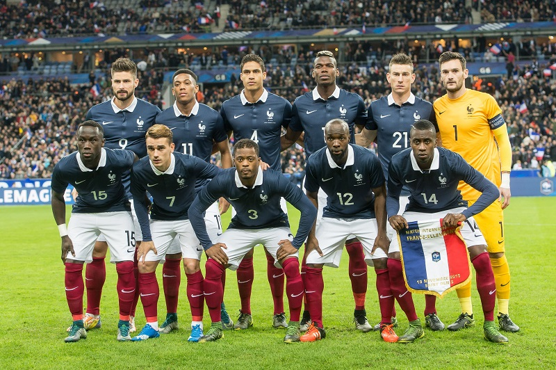 (BL-R) Olivier Giroud of France, Anthony Martial of France, Raphael Varane of France, Paul Pogba of France, Laurent Koscielny of France, goalkeeper Hugo Lloris of France (FL-R) Bacary Sagna of France, Antoine Griezmann of France, Patrice Evra of France, Lassana Diarra of France, Blaise Matuidi of France during the International friendly match between France and Germany on November 13, 2015 at the Stade France in Paris, France.(Photo by VI Images via Getty Images)