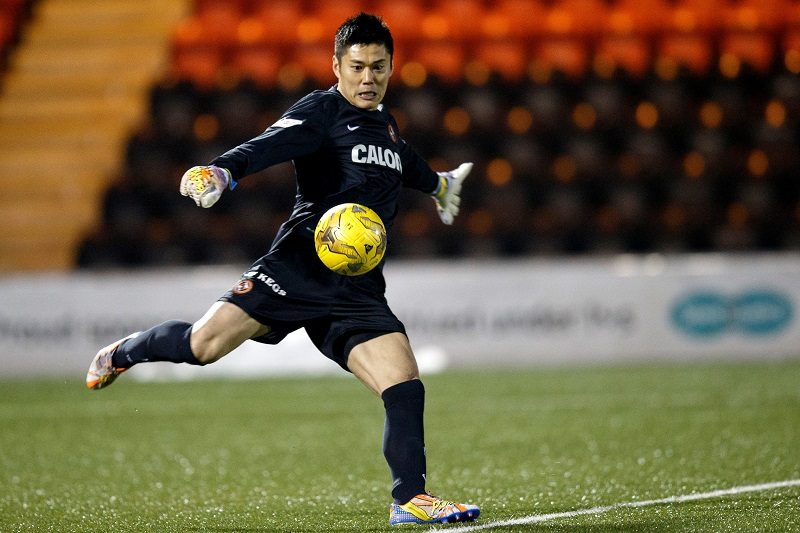 AIRDRIE, SCOTLAND - JANUARY 09:   Fiji Kawashima of Dundee United  in action during the William Hill Scottish Cup Fourth Round between Airdrieonians and Dundee United on January 9, 2016 in Airdrie, Scotland.  (Photo by Steve Welsh/Getty Images)
