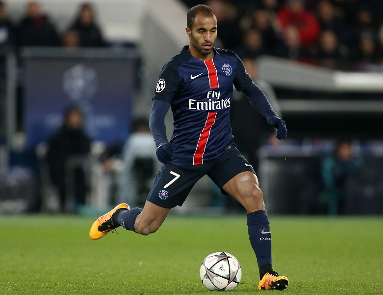 PARIS - FEBRUARY 16: Lucas Moura of PSG in action during the UEFA Champions League round of 16 first leg match between Paris Saint-Germain (PSG) and Chelsea FC at Parc des Princes stadium on February 16, 2016 in Paris, France. (Photo by Jean Catuffe/Getty Images)