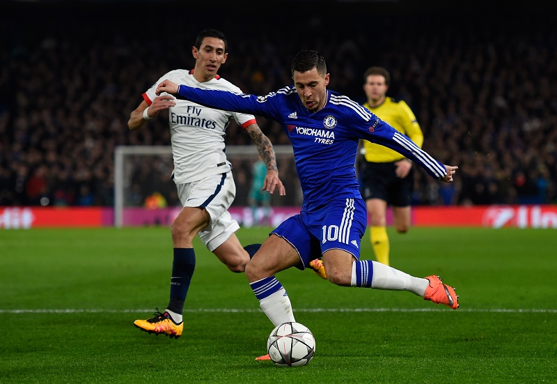 during the UEFA Champions League round of 16, second leg match between Chelsea and Paris Saint Germain at Stamford Bridge on March 9, 2016 in London, United Kingdom.