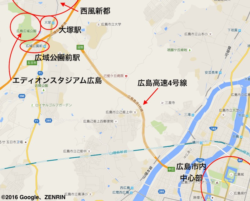 エディオンスタジアム広島周辺と広島市内中心部の位置関係 ©2016 Google、ZENRIN