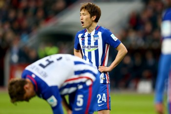 LEVERKUSEN, GERMANY - APRIL 30:  Genki Haraguchi of Berlin is seen during the Bundesliga match between Bayer Leverkusen and Hertha BSC Berlin at BayArena on April 30, 2016 in Leverkusen, Germany.  (Photo by Christof Koepsel/Bongarts/Getty Images)