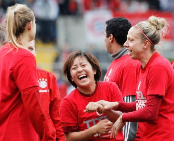 MUNICH, GERMANY - MAY 01:  Mana Iwabuchi of Bayern Munich celebrates victory in the Women's Bundesliga match at Gruenwalder Street Stadium on May 01, 2016 in Munich, Bavaria.  (Photo by Adam Pretty/Bongarts/Getty Images)