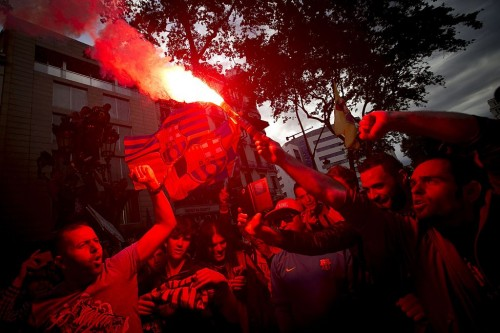 Barcelona fans celebrate the La Liga title