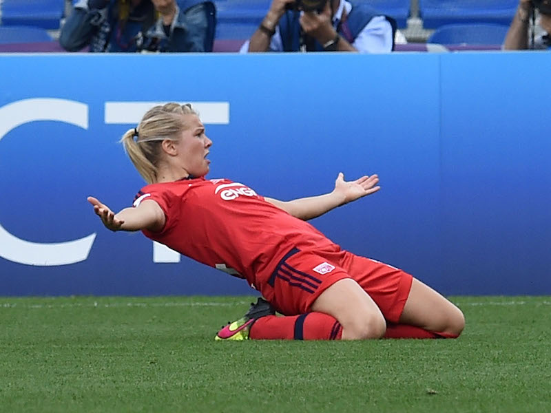REGGIO NELL'EMILIA, ITALY - MAY 26:  Ada Hegerberg of VfL Wolfsburg celebrates after scoring the opening goal during UEFA Women's Champions League Final  between VfL Wolfsburg v Olympique Lyonnais at Mapei Stadium on May 26, 2016 in Reggio Nell'Emilia, Italy.  (Photo by Giuseppe Bellini/Getty Images)