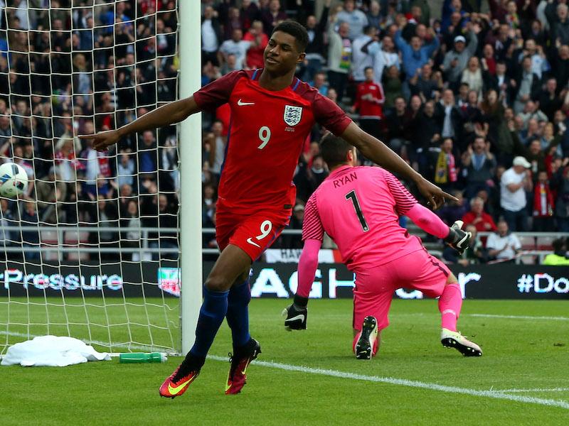 代表デビュー戦でゴールを決めたラッシュフォード [写真]=The FA via Getty Images