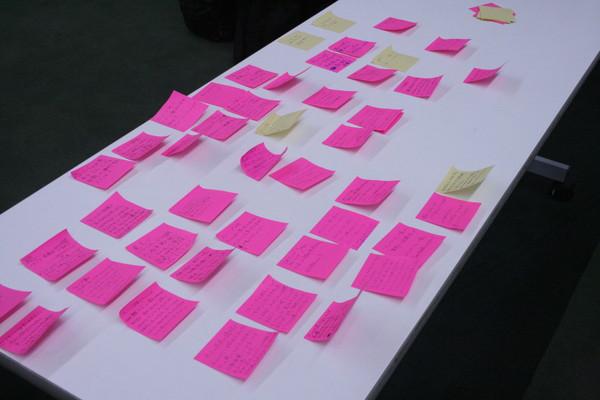 ポストイットを用いた参加者からの質問カード