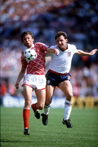 Sport. Football. European Championships. Frankfurt, West Germany. 18th June 1988. England 1 v USSR 3. USSR's Oleg Protasov and England's Dave Watson battle for the ball.