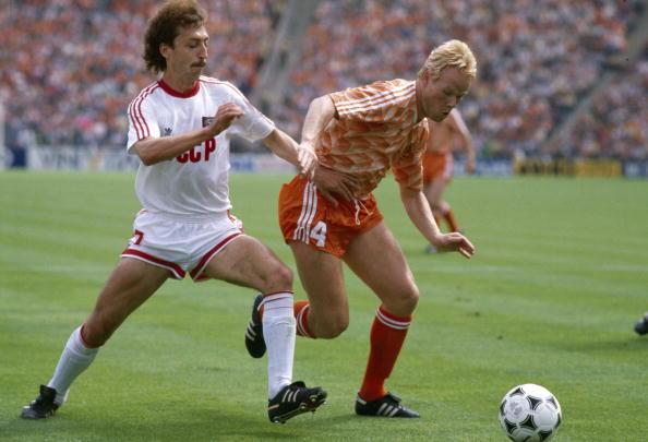 BT Sport, Football, pic: 25th June 1988, European Championship Final, Munich, Holland 2 v U,S,S,R, 0, Holland's Ronald Koeman , right, challenged by USSR's Sergei Aleinikov