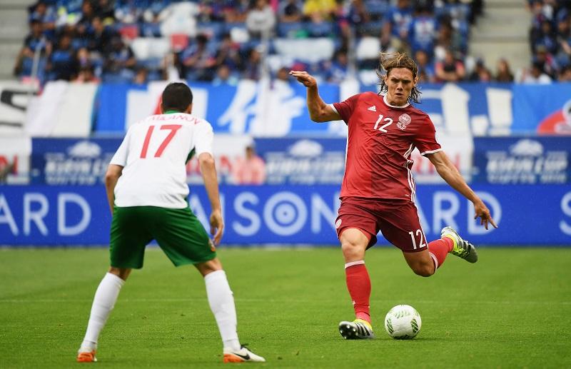 デンマーク代表としてキリンカップサッカー2016を戦うヴェステルゴーア(右) [写真]=Getty Images