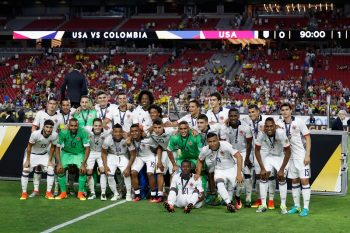 GLENDALE, AZ - JUNE 25:  Team Colombia pose together after receiving their medals and defeating the United States 1-0 in the 2016 Copa America Centenario third place match at University of Phoenix Stadium on June 25, 2016 in Glendale, Arizona.  (Photo by Christian Petersen/Getty Images)