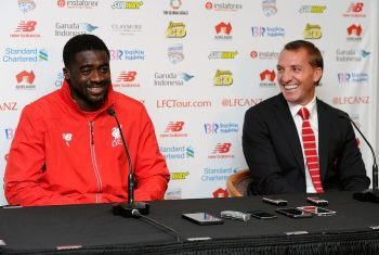 ADELAIDE, AUSTRALIA - JULY 19:  (THE SUN OUT, THE SUN ON SUNDAY OUT) Brendan Rodgers manager of Liverpool and Kolo Toure of Liverpool laugh during a press conference at Coopers Stadium on July 19, 2015 in Adelaide, Australia.  (Photo by Andrew Powell/Liverpool FC via Getty Images)