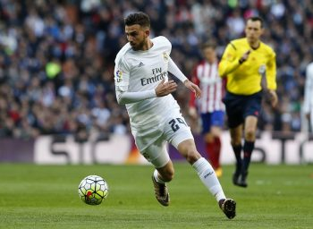 MADRID, SPAIN - FEBRUARY 27: Borja Mayoral of Real Madrid during the La Liga match between Real Madrid CF and Club Atletico de Madrid at Estadio Santiago Bernabeu on February 27, 2016 in Madrid, Spain. (Photo by Antonio Villalba/Real Madrid via Getty Images)