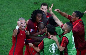 MARSEILLE, FRANCE - JUNE 30:  Renato Sanches (2nd L) of Portugal celebrates scoring his team's first goal with his team mates during the UEFA EURO 2016 quarter final match between Poland and Portugal at Stade Velodrome on June 30, 2016 in Marseille, France.  (Photo by Alex Livesey/Getty Images)