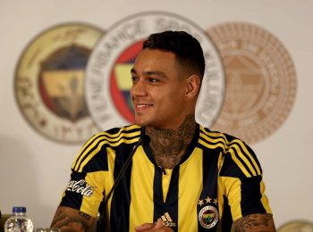 ISTANBUL, TURKEY - JULY 4: Gregory van der Wiel attends a signing ceremony with Fenerbahce jersey at Ulker Sports Arena, in Istanbul, Turkey on July 4, 2016.    (Photo by Veli Gurgah/Anadolu Agency/Getty Images)