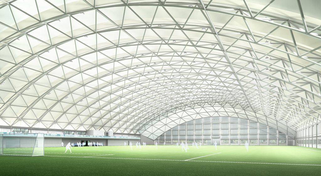 新設予定の国内初の人工芝1面サイズ全天候型練習場