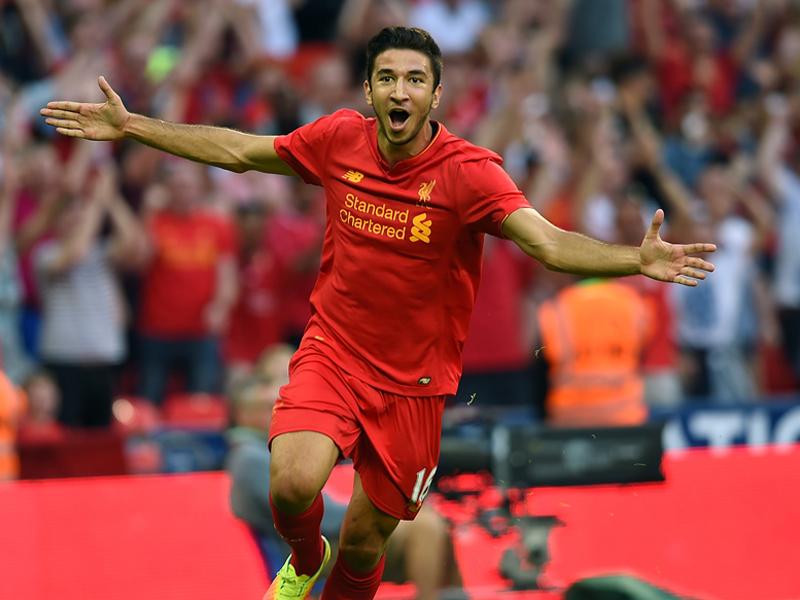 4点目を決めて笑顔で駆け出すグルイッチ [写真]=Liverpool FC via Getty Images
