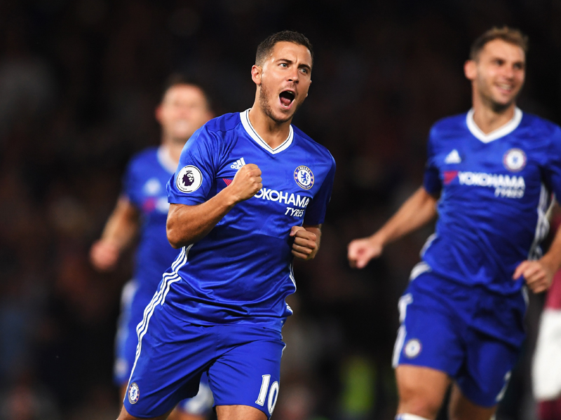 PKで先制ゴールを決めたアザール [写真]=Chelsea FC via Getty Images
