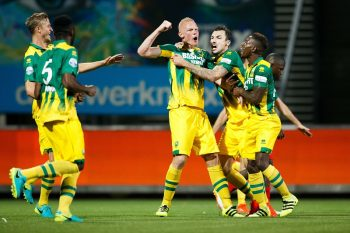 (L-R) Tommie Beugelsdijk of ADO Den Haag, Mike Havenaar of ADO Den Haag, Ruben Schaken of ADO den Haag during the Dutch Eredivisie match between Excelsior Rotterdam and ADO Den Haag at the Woudestein stadium on august 19, 2016 in Rotterdam, the Netherlands(Photo by VI Images via Getty Images)