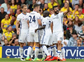 WATFORD, ENGLAND - AUGUST 20:  Diego Costa of Chelsea celebrates scoring their winning goal during the Premier League match between Watford and Chelsea at Vicarage Road on August 20, 2016 in Watford, England.  (Photo by Christopher Lee/Getty Images)