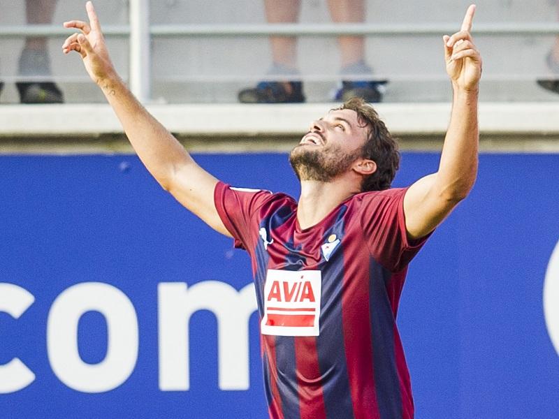 先制ゴールを挙げたエイバルのペドロ・レオン [写真]=Getty Images