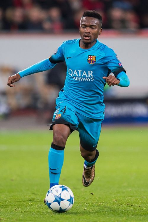 Wilfrid Kaptoum of FC Barcelona during the UEFA Champions League match between Bayer 04 Leverkusen and FC Barcelona on December 9, 2015 at the BayArena in Leverkusen, Germany.(Photo by VI Images via Getty Images)