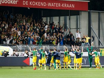 the players of Ado Den Haag celebrate 1-2 win with fans during the Dutch Eredivisie match between Excelsior Rotterdam and ADO Den Haag at the Woudestein stadium on august 19, 2016 in Rotterdam, the Netherlands(Photo by VI Images via Getty Images)