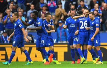 LEICESTER, ENGLAND - SEPTEMBER 17:  Islam Slimani of Leicester City celebrates scoring his sides second goal with his team mates during the Premier League match between Leicester City and Burnley at The King Power Stadium on September 17, 2016 in Leicester, England.  (Photo by Laurence Griffiths/Getty Images)