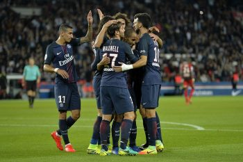 PARIS, FRANCE - SEPTEMBER 20:  Lucas of Paris Saint-Germain is congratulated by teammates for his goal during the Ligue 1 match between Paris Saint-Germain and Dijon FCO at Parc des Princes on September 20, 2016 in Paris, France.  (Photo by Aurelien Meunier/Getty Images)