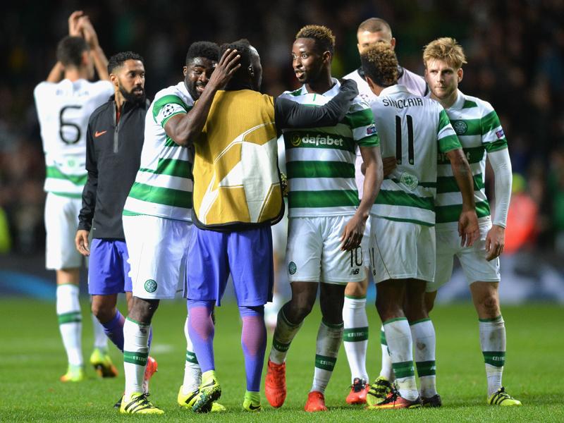 マンチェスター・C相手に勝ち点1を奪ったセルティックの選手たち [写真]=Getty Images