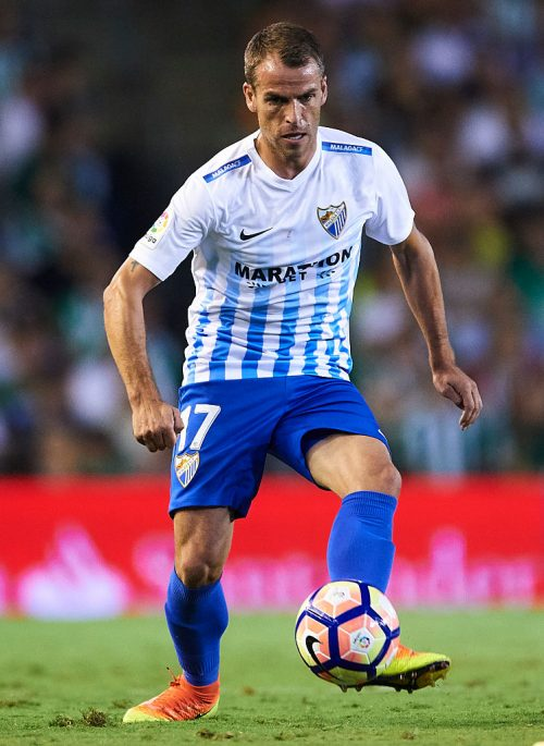 "SEVILLE, SPAIN - SEPTEMBER 23:  Sergio Paulo Barbosa ""Duda"" of Malaga CF in action during the match between Real Betis Balompie vs Malaga CF as part of La Liga at Benito Villamarin stadium on September 23, 2016 in Seville, Spain.  (Photo by Aitor Alcalde Colomer/Getty Images)"