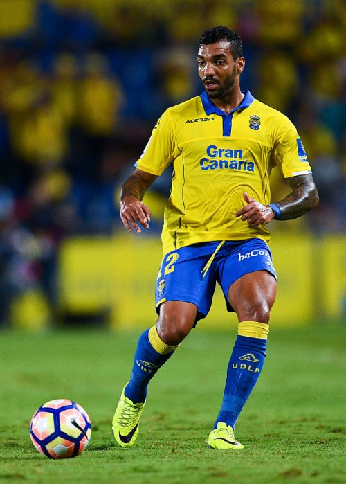 LAS PALMAS, SPAIN - SEPTEMBER 24:  Michel Macedo of UD Las Palmas runs with the ball during the La Liga match between UD Las Palmas and Real Madrid CF on September 24, 2016 in Las Palmas, Spain.  (Photo by David Ramos/Getty Images)