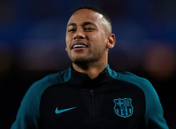 BARCELONA, SPAIN - OCTOBER 19:  Neymar JR of Barcelona reacts prior to the UEFA Champions League Group C match between FC Barcelona and Manchester City FC at Camp Nou on October 19, 2016 in Barcelona, .  (Photo by Manuel Queimadelos Alonso/Getty Images)