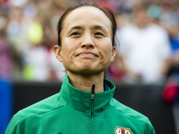 CLEVELAND, OH - JUNE 5: Head coach Asako Takakura of Japan prior to a friendly match against the U.S. Women's National Team on June 5, 2016 at FirstEnergy Stadium in Cleveland, Ohio. (Photo by Jason Miller/Getty Images)