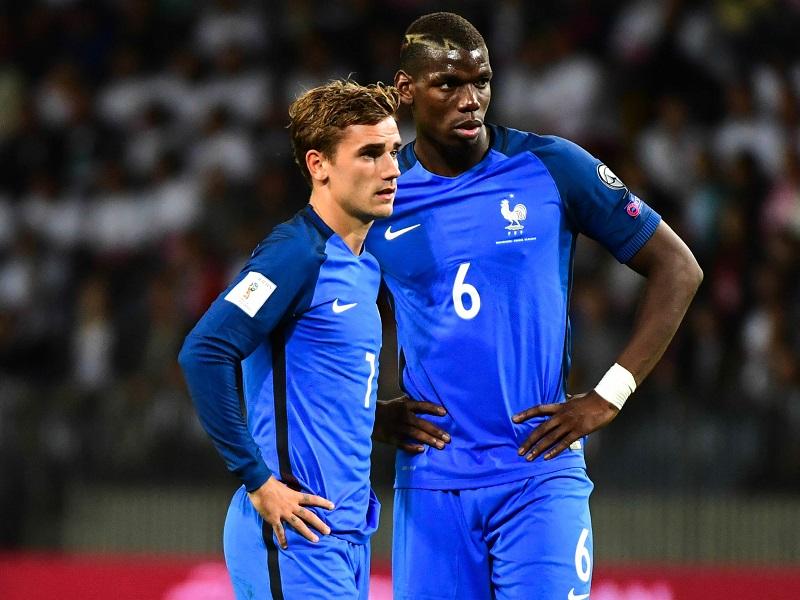 フランス代表でともにプレーするグリーズマン(左)とポグバ(右) [写真]=Getty Images