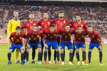 (BL-R) goalkeeper David de Gea of Spain, Sergio Ramos of Spain, Sergio Busquets of Spain, Gerard Pique of Spain, Alvaro Morata of Spain, (FL-R) David Silva of Spain, Daniel Carvajal of Spain, Vitolo of Spain, Koke of Spain, Thiago Alcantara of Spain, Jordi Alba of Spain during the friendly match between Belgium and Spain on September 1, 2016 at the Koning Boudewijn stadium in Brussels, Belgium.(Photo by VI Images via Getty Images)