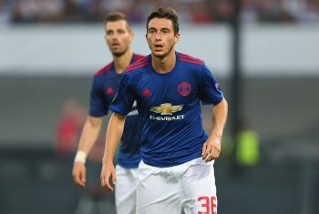 ROTTERDAM, NETHERLANDS - SEPTEMBER 15: Matteo Darmian of Manchester United during the UEFA Europa League match between Feyenoord and Manchester United at Feijenoord Stadion on September 15, 2016 in Rotterdam, . (Photo by Catherine Ivill - AMA/Getty Images)