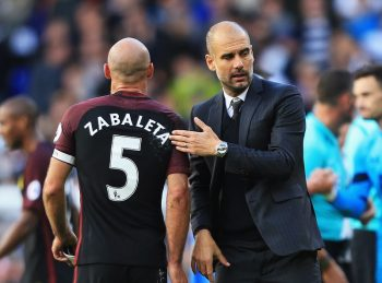 LONDON, ENGLAND - OCTOBER 02: Josep Guardiola, Manager of Manchester City (R) pats Pablo Zabaleta of Manchester City (L) on the back after the final whistle during the Premier League match between Tottenham Hotspur and Manchester City at White Hart Lane on October 2, 2016 in London, England.  (Photo by Tottenham Hotspur FC/Tottenham Hotspur FC via Getty Images)