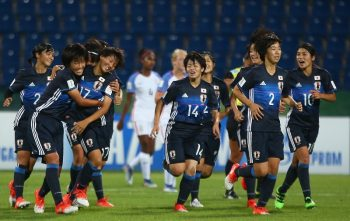 AMMAN, JORDAN - OCTOBER 08: Oto Kanno of Japan (3rd L) celebrates scoring a goal with her team mates during the FIFA U-17 Women's World Cup Jordan 2016 Group D match between Japan and USA at Amman International Stadium on October 8, 2016 in Amman, Jordan.  (Photo by Steve Bardens-FIFA/FIFA via Getty Images)