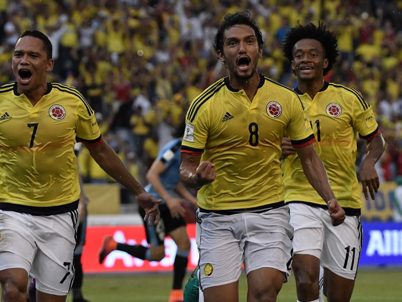 先制ゴールを決めて喜ぶアギラール(8番) [写真]=LatinContent/Getty Images