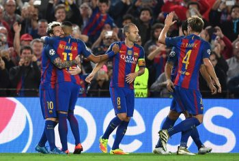 BARCELONA, SPAIN - OCTOBER 19:  Lionel Messi of Barcelona celebrates with team mates after scoring his teams second goal of the game during the UEFA Champions League group C match between FC Barcelona and Manchester City FC at Camp Nou on October 19, 2016 in Barcelona, Spain.  (Photo by Shaun Botterill/Getty Images)